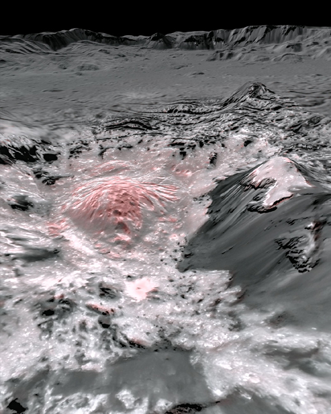 A false-color image of Occator Crater on Ceres...showing recently-exposed brine that covers this part of the dwarf planet's surface.
