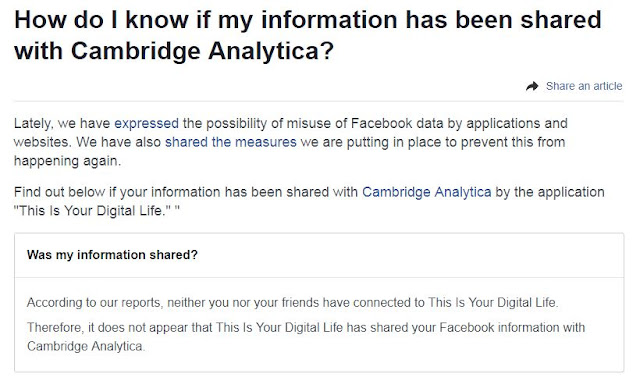 On this page you will check if your data has been made available to Cambridge Analytica