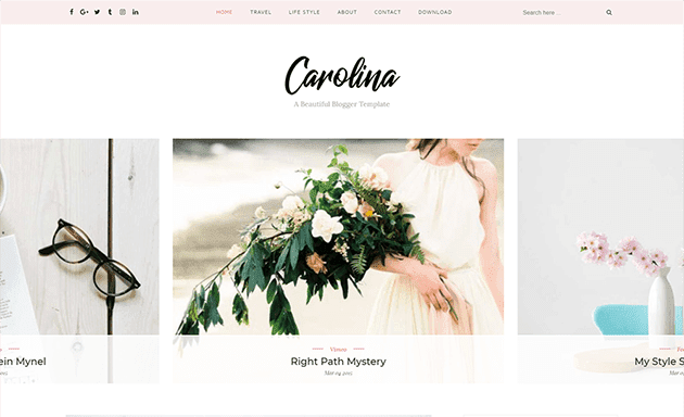 carolina blogger template free download