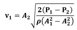 Expresión de la velocidad de entrada al venturi en función de Presión, densidad y áreas transversales de la tubería