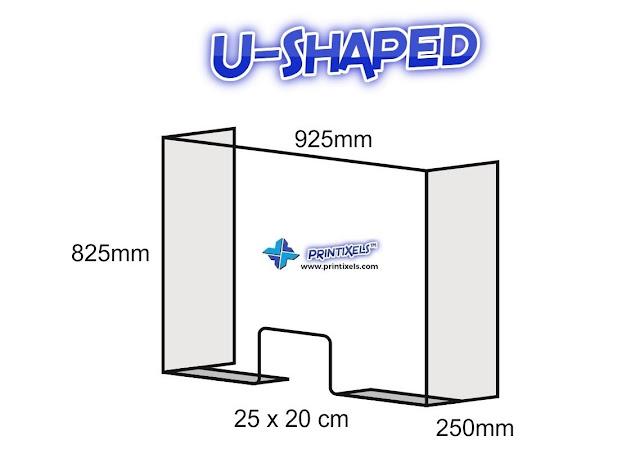 U-Shaped Acrylic Counter Shield