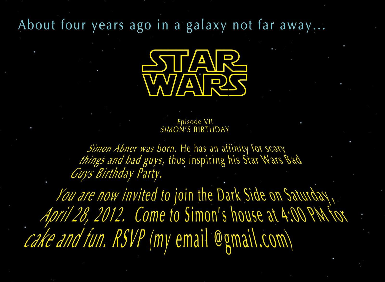 Weesher Weesh Star Wars Bad Guys Birthday