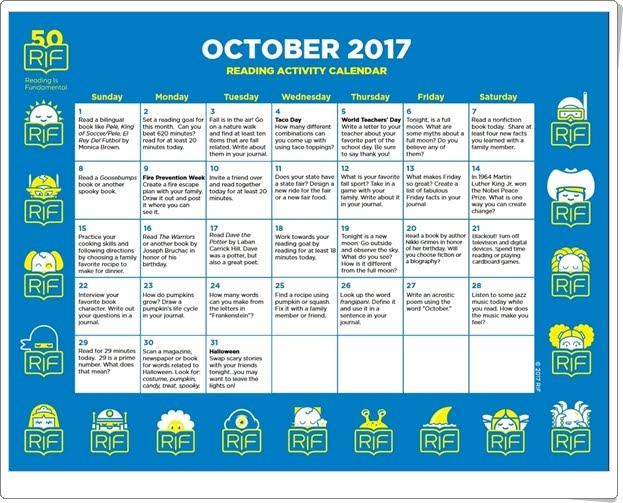 """""""Calendario de actividades de Octubre de 2017"""" (Para trabajar la lectura en español e inglés a partir de 6 años)"""