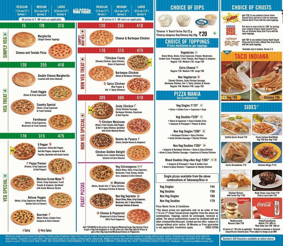 Dominos Food Menu