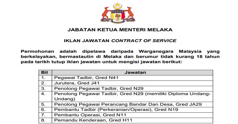 Kekosongan Terkini di Jabatan Ketua Menteri Melaka