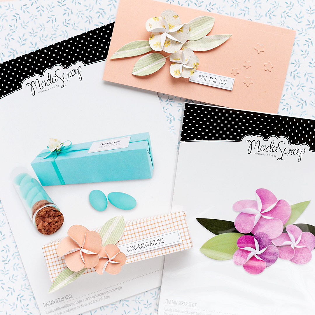 Gift box and card with Frangipane Flower Die and Treat Holder Die by Moda Scrap Scrapbooking GiftwrappingSandra Dietrich