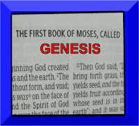 photo of the first page of the Old Testament book of Genesis with Genesis written in red capital letters in a purple frame (c)ErikaGrey