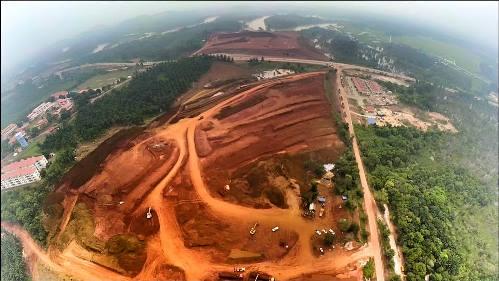 Gambar Perlombongan Bauksite Dari Pandangan Udara Drone