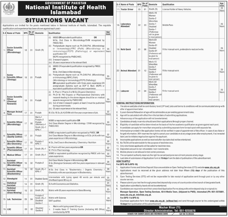 Advertisement for National Institute of Health Islamabad Jobs April 2019