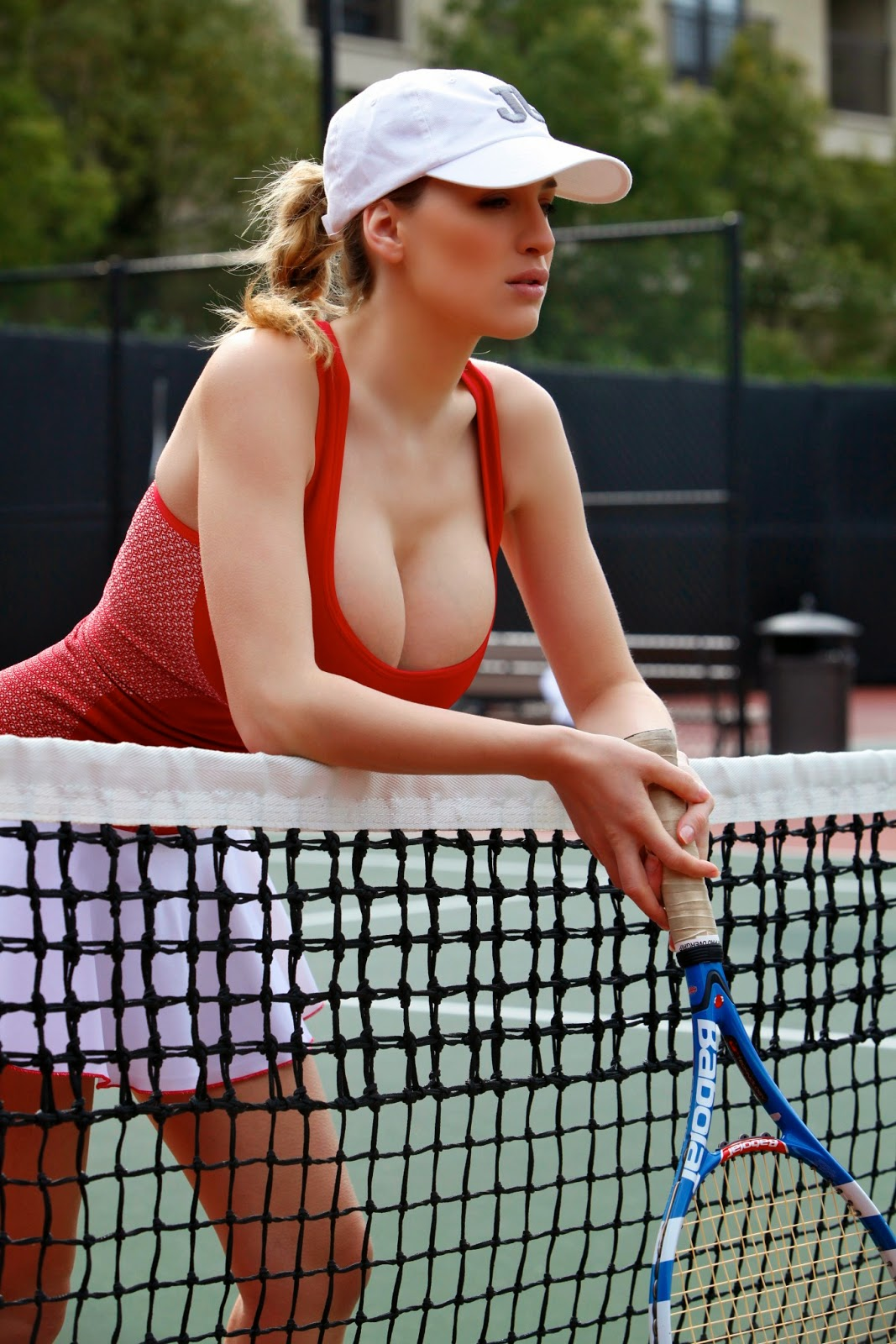 Jordan Carver Playing Hot Tennis Big Boobs Cleavage Show -5859