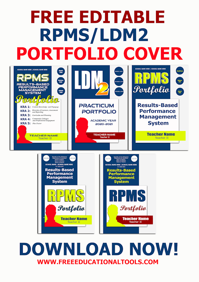 DOWNLOAD FREE EDITABLE COVER FOR RPMS   LDM 2 PORTFOLIO SY 2021-2022   DOC, DOCX, PSD, TIFF FORMAT  