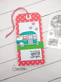 Happy Camper a tag by Diane Morales using Cozy Camper stamp set By Newton's Nook Designs
