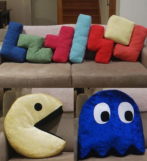 almofadas geek, almofadas de tetris, almofadas do pacman