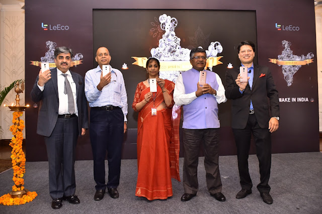 (L-R) Mr Pankaj Mohindroo: Founder and National President, Indian Cellular Association; Mr Ajay Kumar, Additional Secretary, Ministry of Electronics and IT, Ms Aruna Sundararajan, Secretary, Ministry of Electronics & IT; Hon'ble Union Minister for Electronics & Information Technology and Law & Justice, Shri Ravi Shankar Prasad and Mr Atul Jain, COO – Smart Devices, LeEco India
