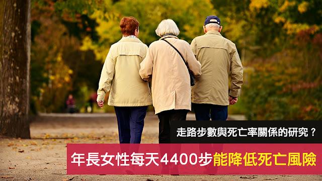 年長婦女每天走路4400步降低死亡率 美國醫學會雜誌 由此分析得出了每天走路步數與死亡率的關係
