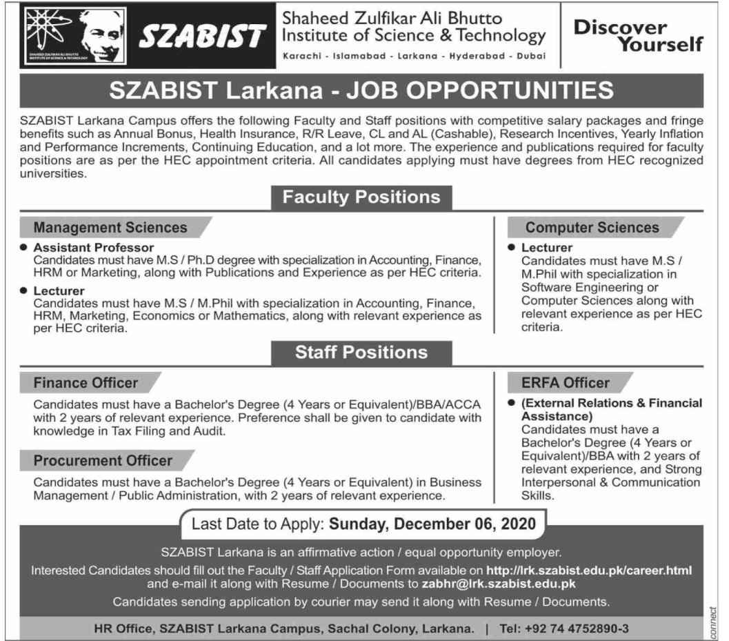 SZABIST University Larkana Faculty & Staff Position Jobs 2020
