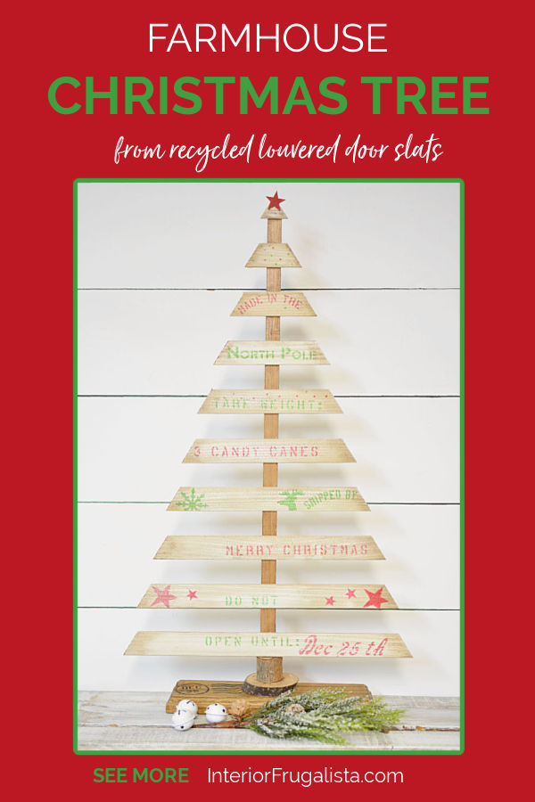 A Rustic DIY Tabletop Christmas Tree with Farmhouse Style by Interior Frugalista made with recycled louvered bifold door wooden slats and a festive crate style stencil. A budget holiday decorating idea for indoors or outdoors.#diychristmastree #festivetabletoptree #festivechristmasideas