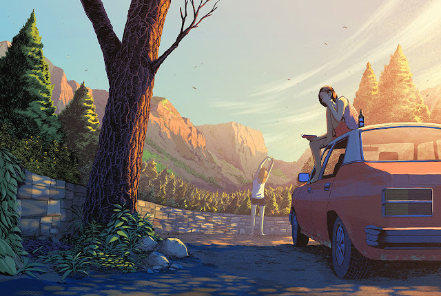 Pit Stop (2016) by Guy Shield | ilustraciones imaginativas, sentimientos y emociones, imagenes bonitas, nostalgicas, illustration art, cool stuff.