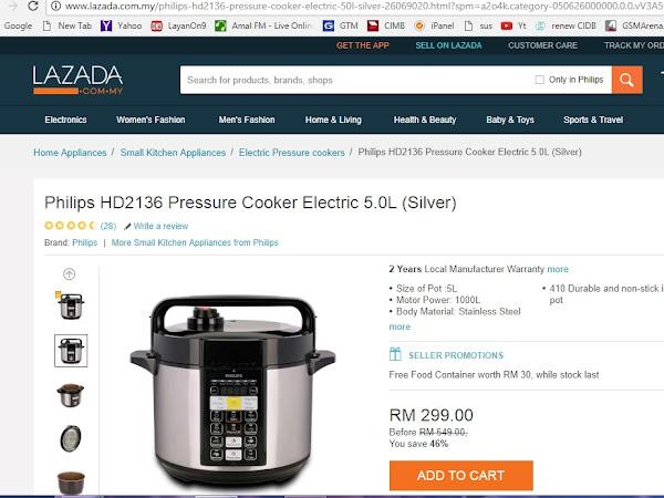 Philips Pressure Cooker HD2136 : Hadiah Istimewa Encik Suami.