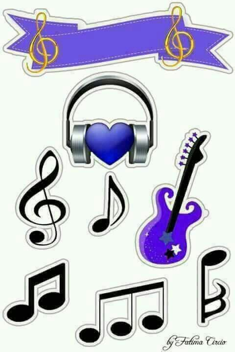 Music in Purple Free Printable  Quinceanera Cake Toppers.