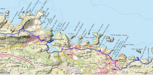 Mapa Topográfico 2 Senda Costera Llanes Villahormes