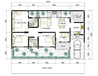 Contoh Model Denah Rumah Minimalis 1 Lantai 3 Kamar