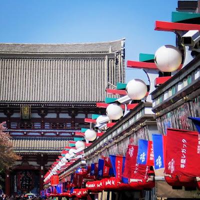 Japan in April: Nakamise shopping street in Asakusa Tokyo