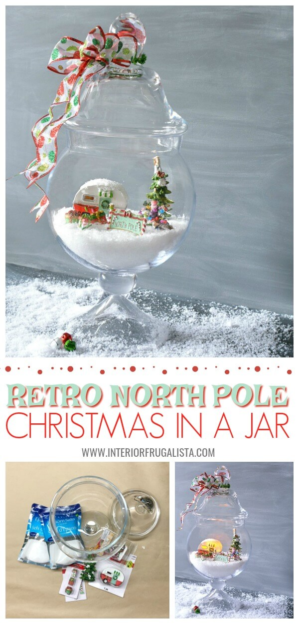 Retro North Pole Christmas Diorama In A Jar