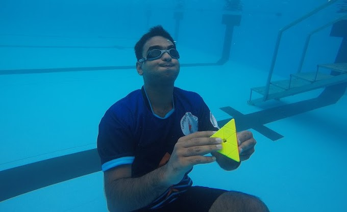 Menyelesaikan 9 Rubik Pyraminx di Bawah Air