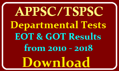 TSPSC/APPSC Departmental Test EOT Paper Code - 141 and GOT paper Code - 88 & 97 Results Download PDF Here with Names /2019/12/APPSC-TSPSC-Department-Tests-EOT-and-GOT-Results-from-2010-2018-Download-with-names-us-format.html