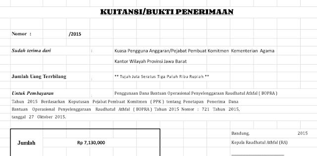 Contoh Format Kwitansi BOP PAUD, TK, KB,TPA Versi Berkas Sekolah
