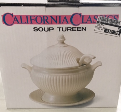 California Classic box soup tureen price tag