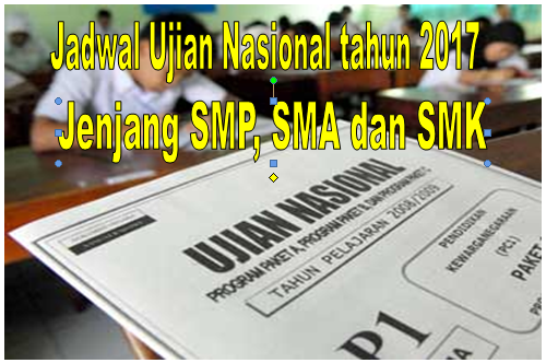 JADWAL UJIAN NASIONAL JENJANG SMP, SMA/SMK TAHUN 2017