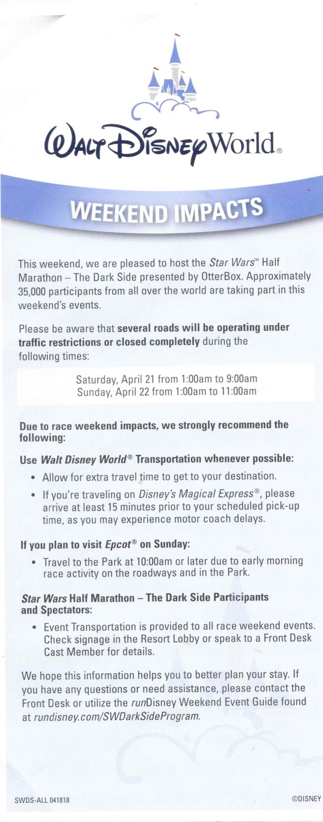 Disney World Star Wars Half Marathon Road Restrictions 2018