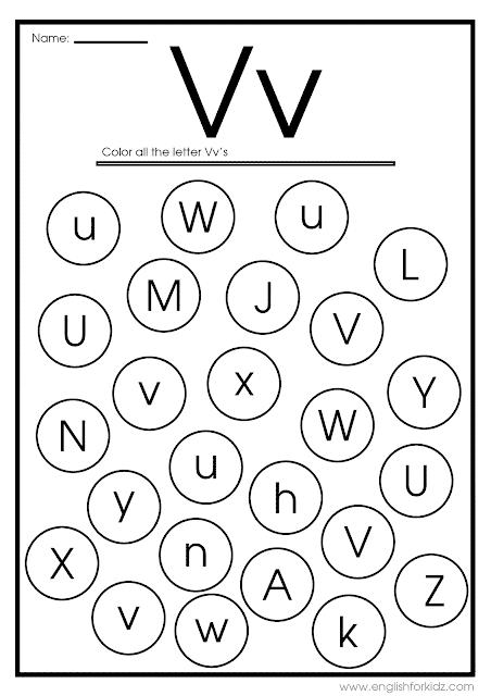 Find letter V worksheet -- printable ESL materials to teach English alphabet