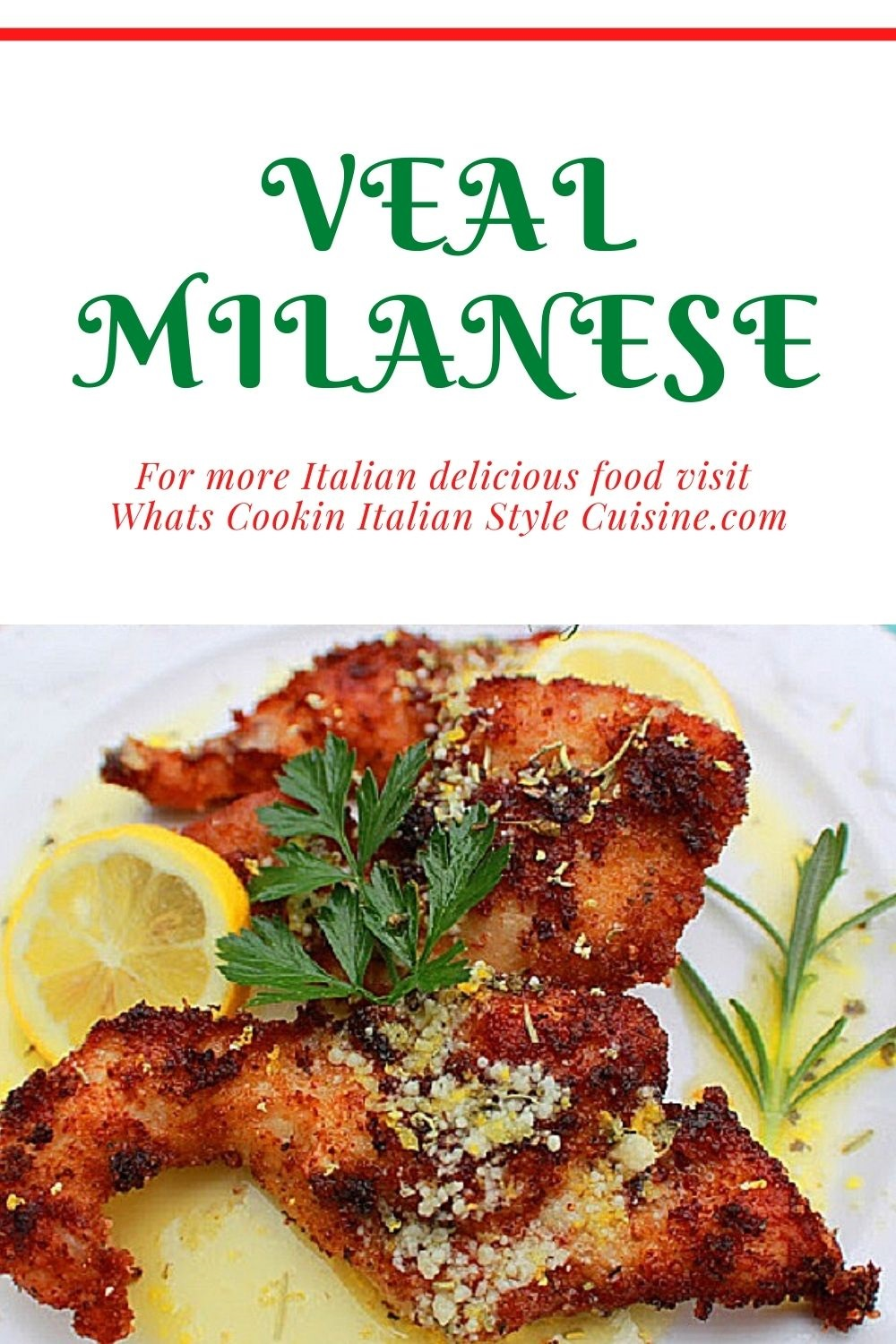 this is a recipe pin for later for Veal Milanese