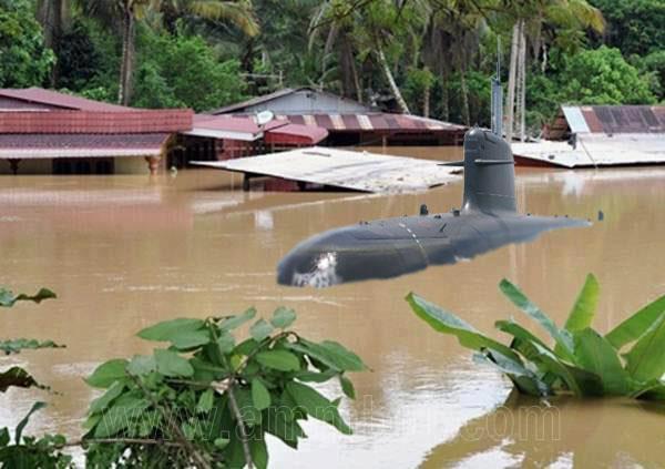 Image result for Foto kapal selam semasa banjir