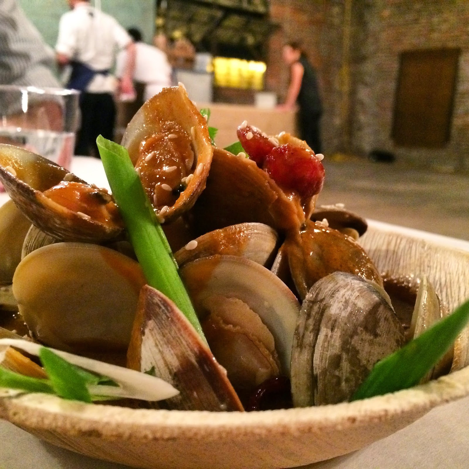 Second Course: Red Chili Littleneck Clams with Chinese Sausage and Green Onion