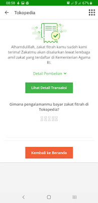 Bayar zakat fitrah online di Tokopedia