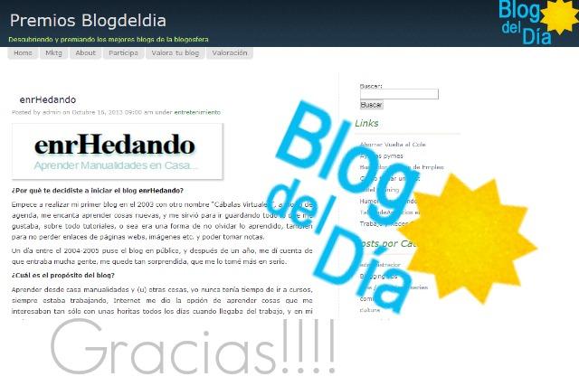 blog del día, premios, reconocimiento, enrhedando, blogger