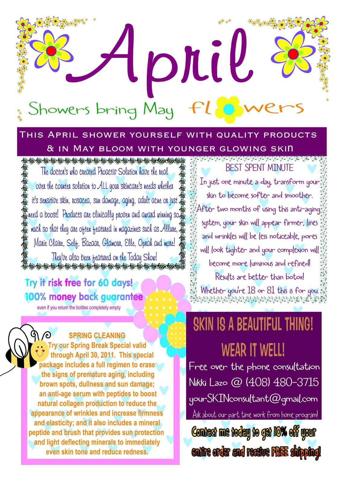 Nikki for rodan and fields april newsletter for Free april newsletter template