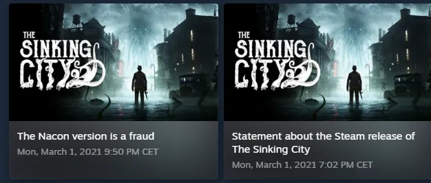 The Sinking City dispute steam