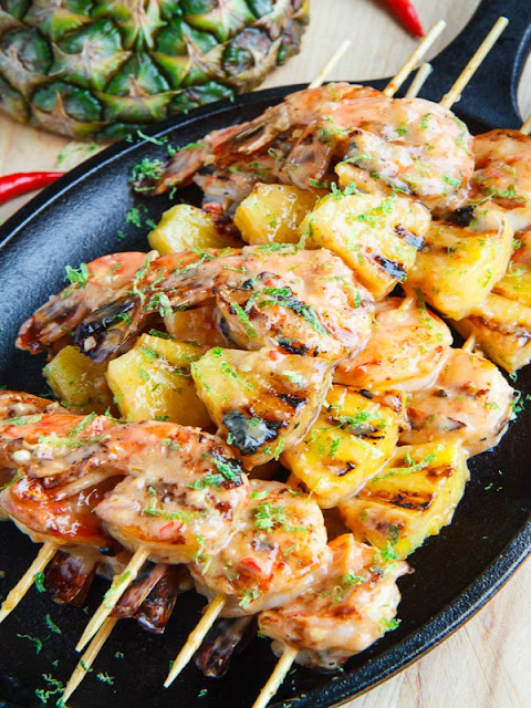 Grilled coconut and pineapple sweet chilli shrimps - Ioanna's Notebook