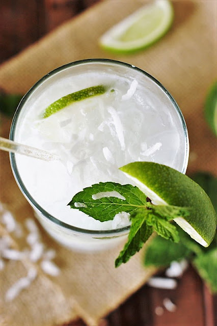 Coconut Mojito Lime Wedge and Mint Garnish Image