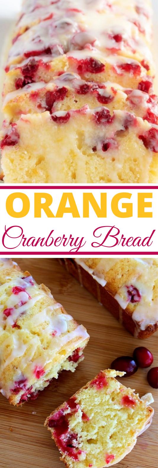 Orange Cranberry Bread with Glaze #cake #desserts #baking #breakfast #bread