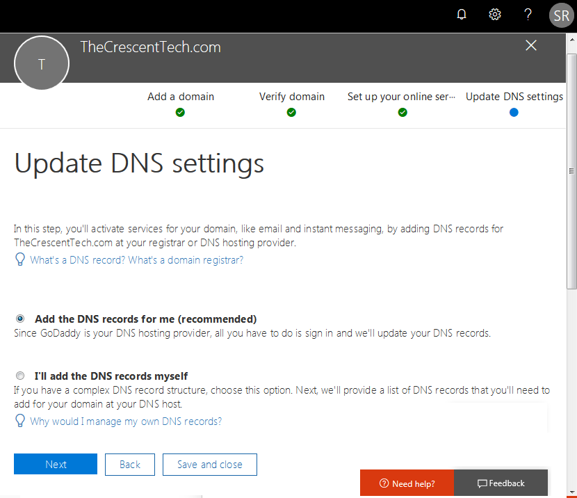 office 365 adding a domain
