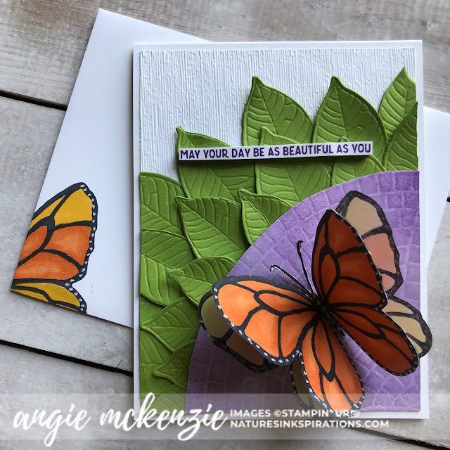 Handmade by Angie McKenzie for Global Creative Inkspirations; Click READ or VISIT to go to my blog for details! Featuring the Beautiful Day Stamp Set, Nature's Roots Dies, Mosaic Embossing Folder, Subtles Embossing Folder; #beautifuldaystampset #inspiredbynature #futteringbutterfly #stampinupinks  #fauxoxidetechnique #fussycutting #friendshipcards #cardtechniques #coloringwithblendsmarkers