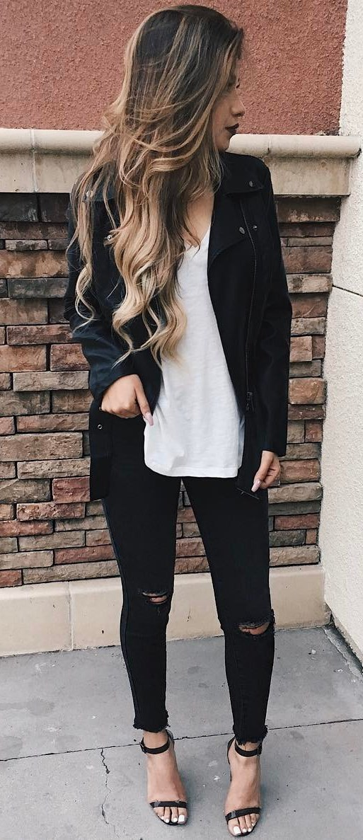 black and white | leather jacket + top + rips + heels