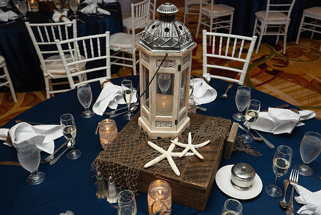 Nautical lantern centerpiece for Reception table