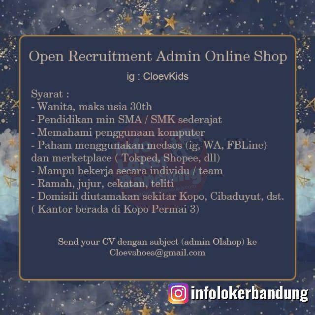 Lowongan Kerja Admin Online Shop Cloev Kids Bandung Desember 2019